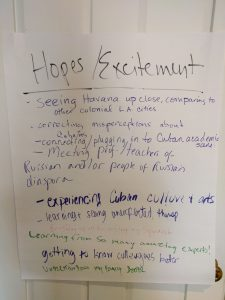 Whiteboard of written hopes, including: seeing Havana up close, correcting misconceptions, experiencing cuban culture and arts, and learning from so many amazing experts