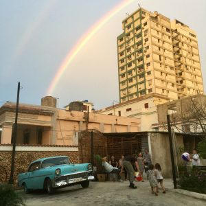Rainbow over a tall building in the Vedado neighborhood