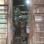 A dog stands in a narrow doorway. Behind the dog are piles of books stacked high